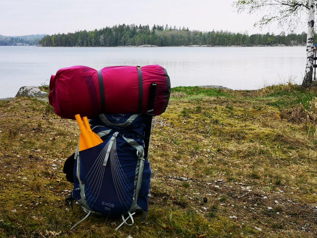 ryggsäck med packning